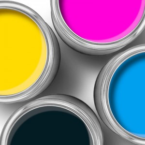 Cmyk color paint tin cans top